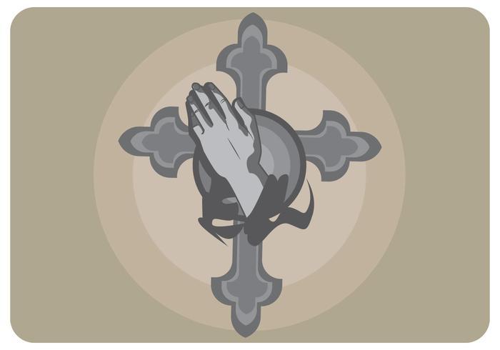 Vecteur de croix et de main abstraite