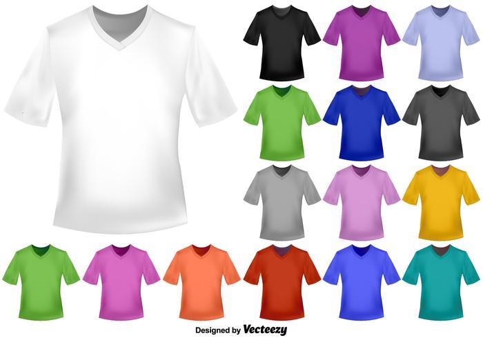 Ensemble vectoriel de chemises à col en V couleur