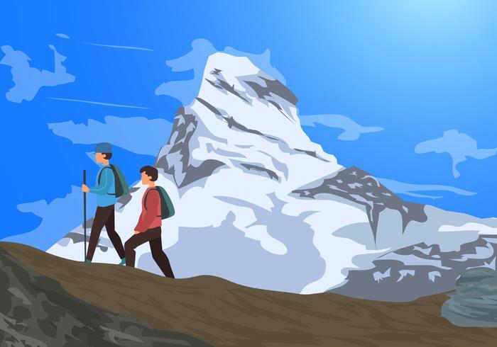 Alpes Matterhorn Mountains With Hikers Vector