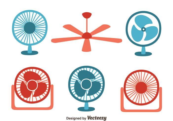 Vecteur de collection de fan rouge et bleu