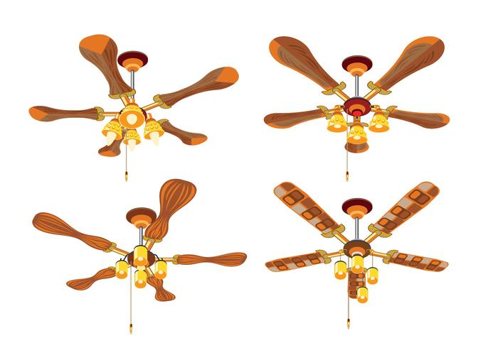 Gros plan Ensemble de ventilateur de plafond vintage avec lumière vecteur