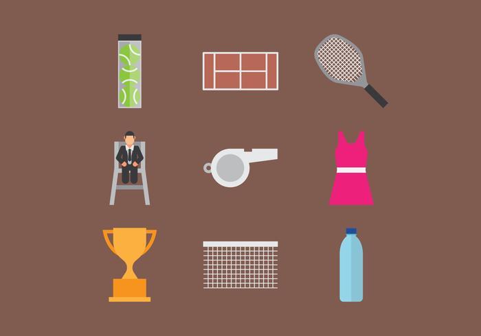 Icônes de tennis vecteur