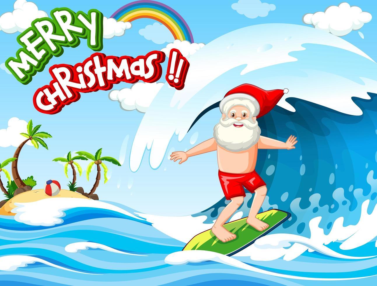 père noël surf à la plage pour l'été noël vecteur