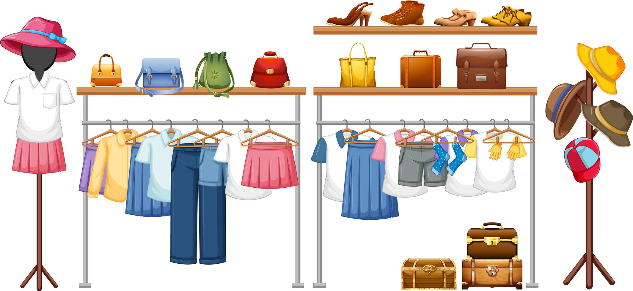 vêtements isolés sur le présentoir vecteur