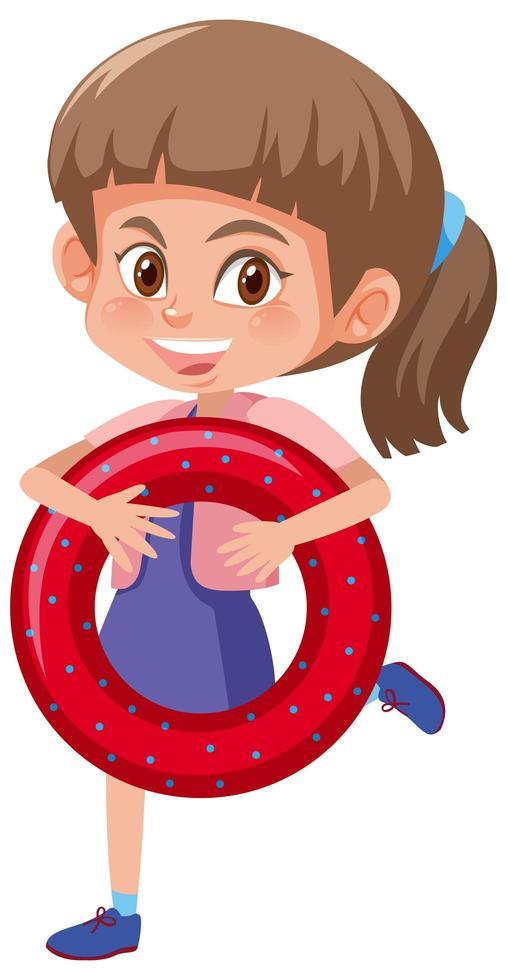 girl, tenue, natation, anneau caoutchouc, dessin animé, caractère, isolé, blanc, fond vecteur