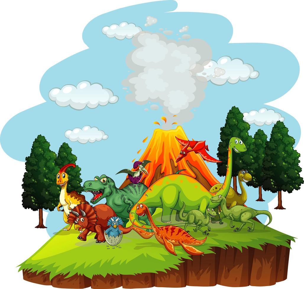 personnage de dessin animé de dinosaures dans la scène de la nature vecteur