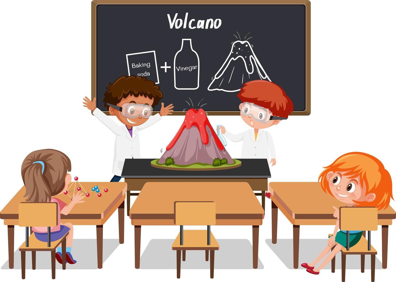 jeunes étudiants faisant une expérience de volcan dans la salle de classe vecteur