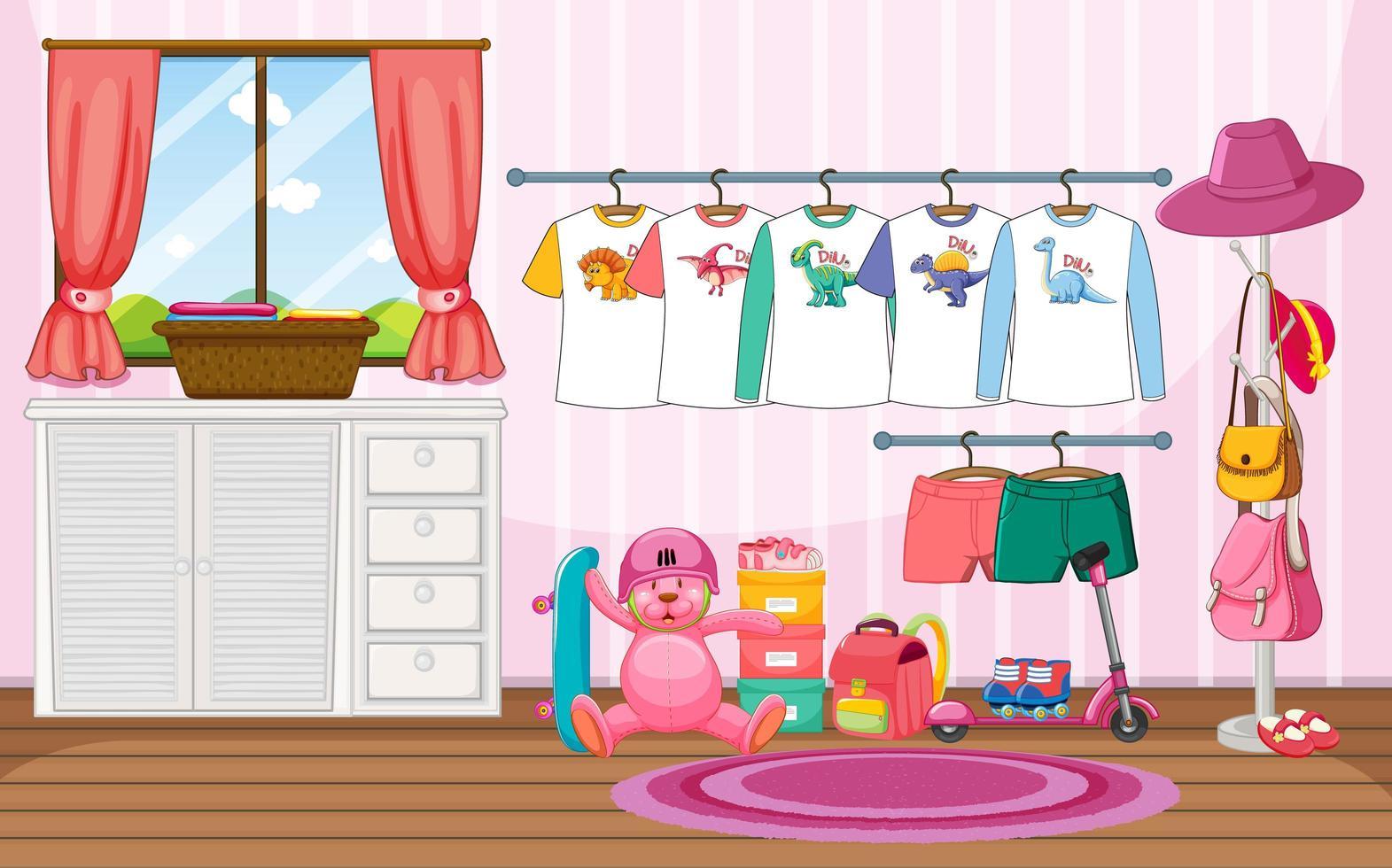 Vêtements pour enfants sur une corde à linge avec de nombreux jouets dans la scène de la pièce vecteur