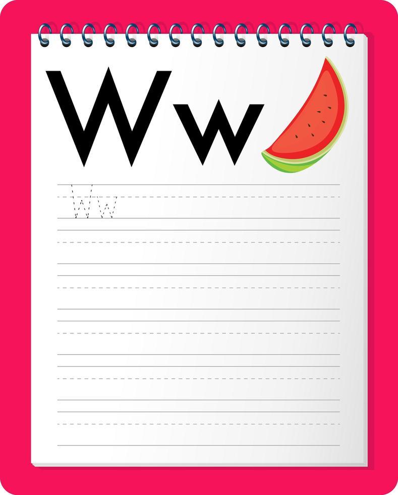 feuille de calcul de traçage alphabet avec lettre w et w vecteur