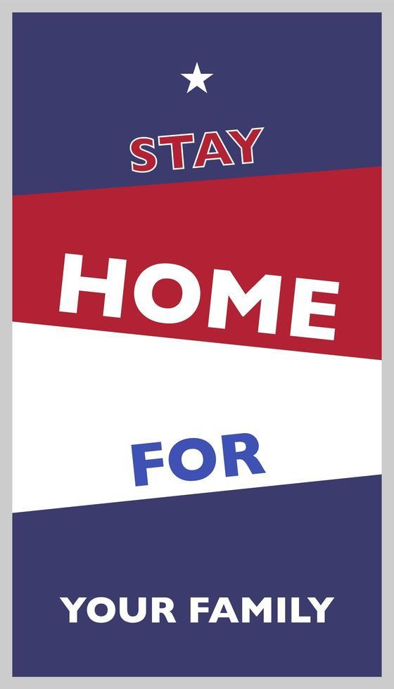 bannière rester à la maison pour votre famille vecteur