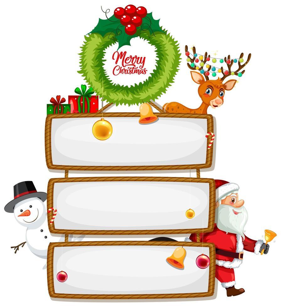 Panneau en bois vierge avec logo de polices joyeux Noël avec personnage de dessin animé de Noël sur fond blanc vecteur
