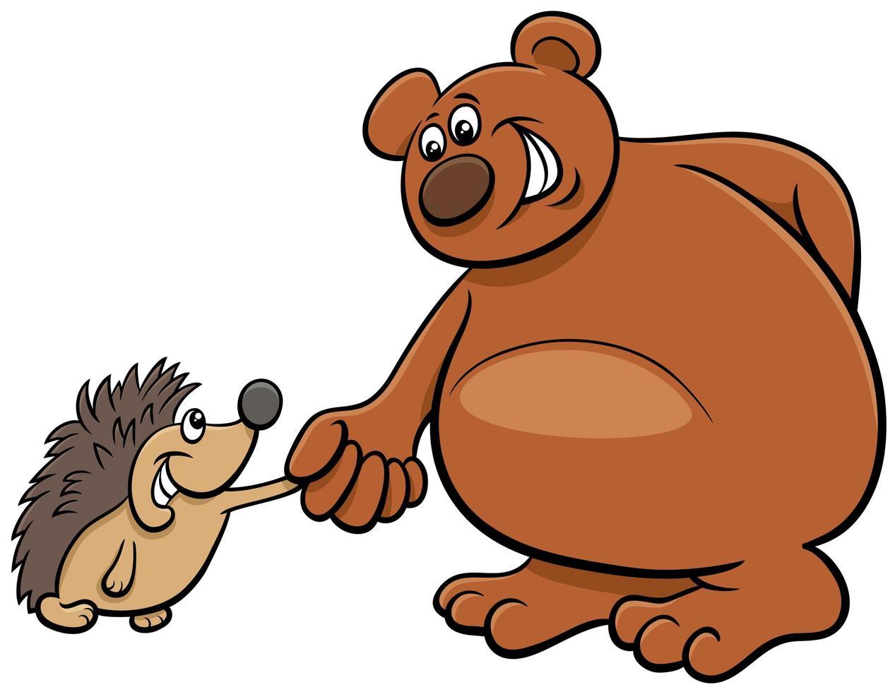 ours et hérisson personnages animaux de dessin animé vecteur