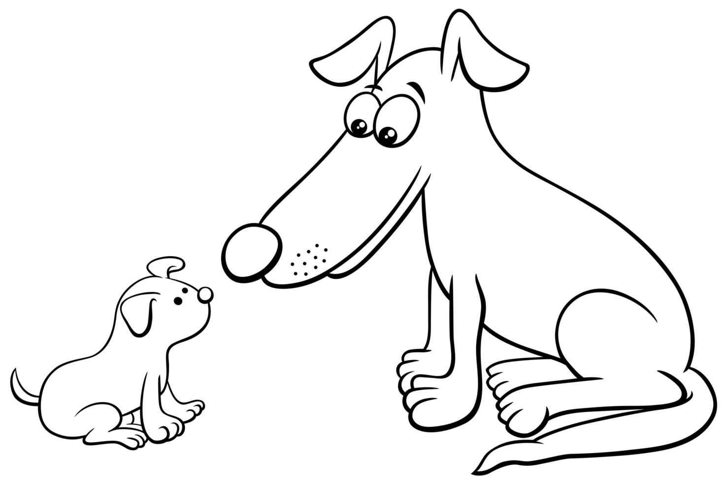 Page de livre de coloriage de personnages animaux chiot et chien vecteur