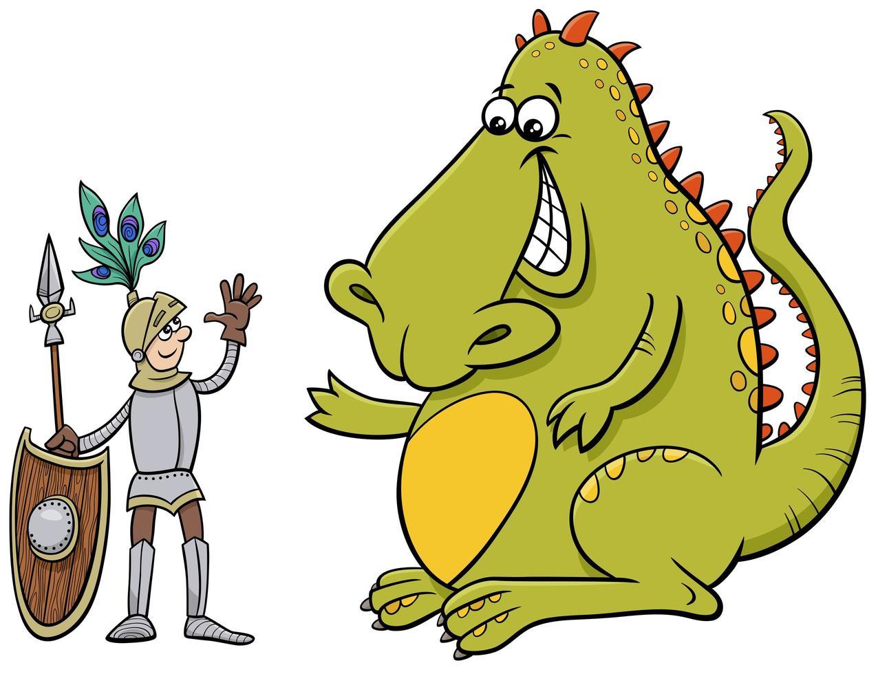 dragon et chevalier ayant un dessin animé de conversation amicale vecteur
