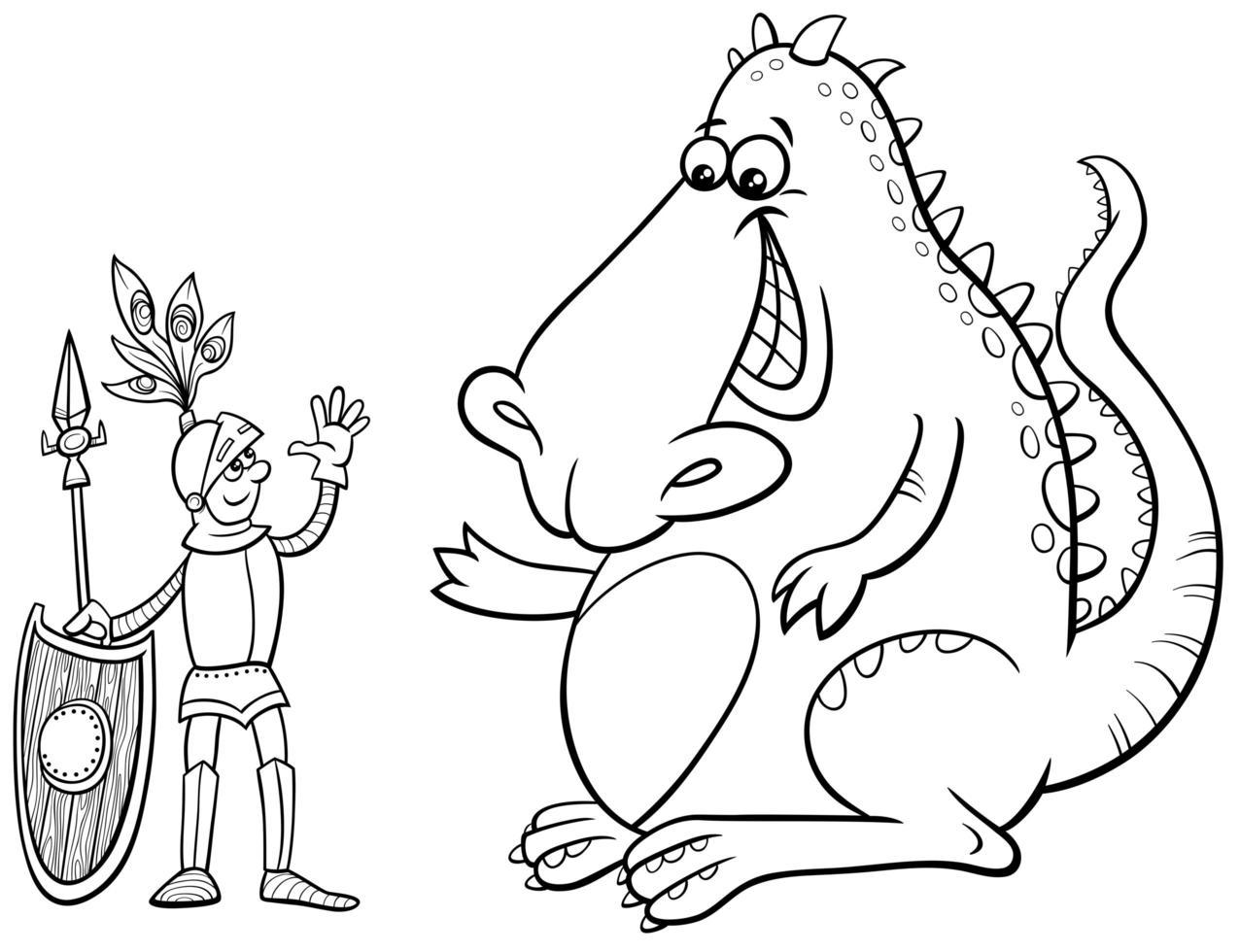 Page de livre de coloriage de dessin animé dragon et chevalier vecteur