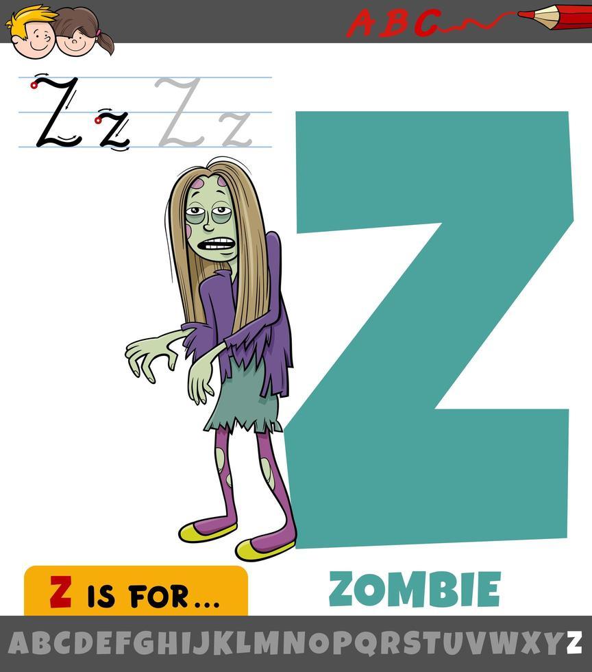 lettre z de l'alphabet avec personnage de dessin animé zombie vecteur
