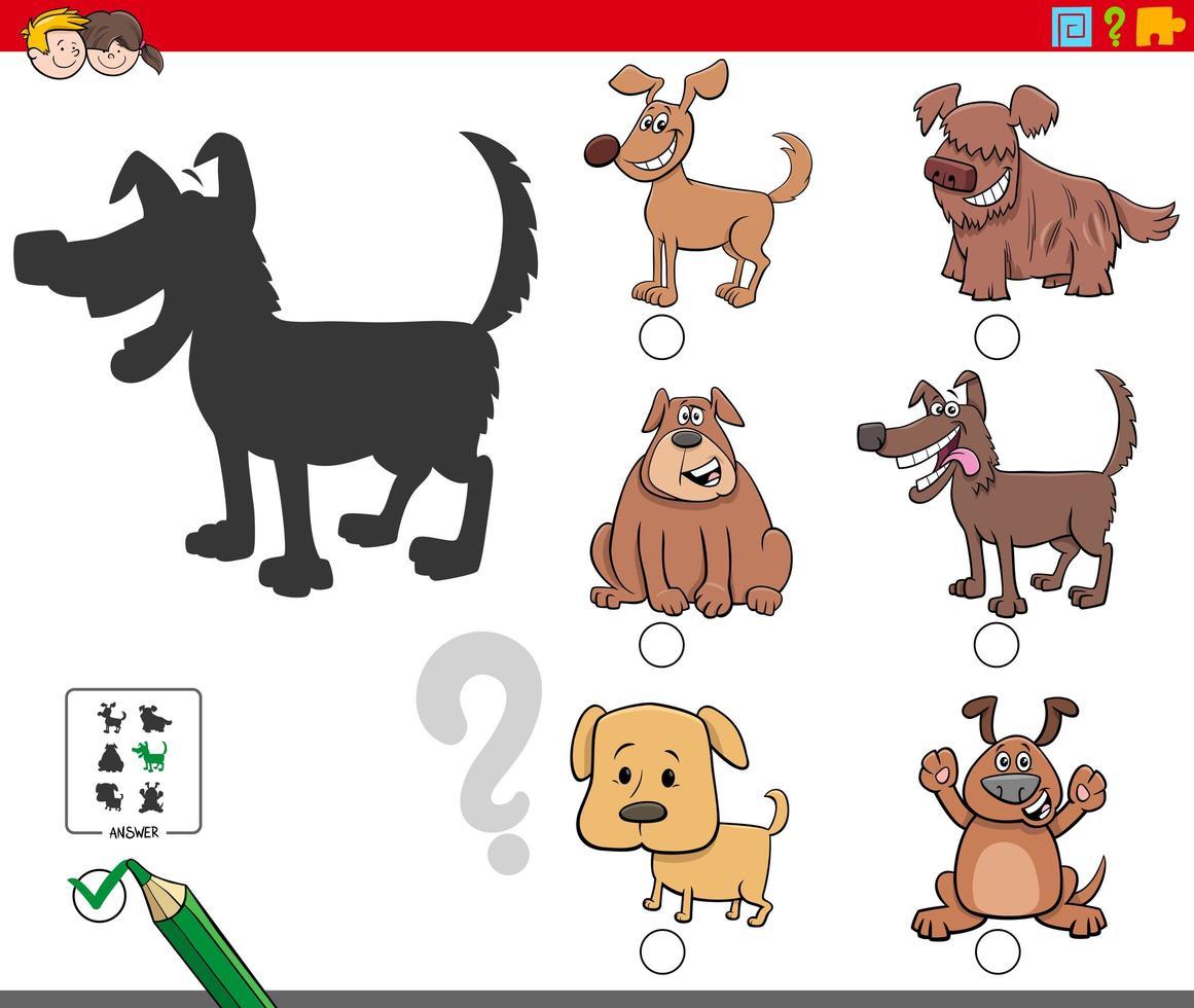 tâche d'ombres avec des personnages de chiens mignons vecteur