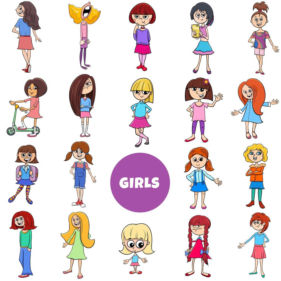 dessin animé enfant filles personnages grand ensemble vecteur