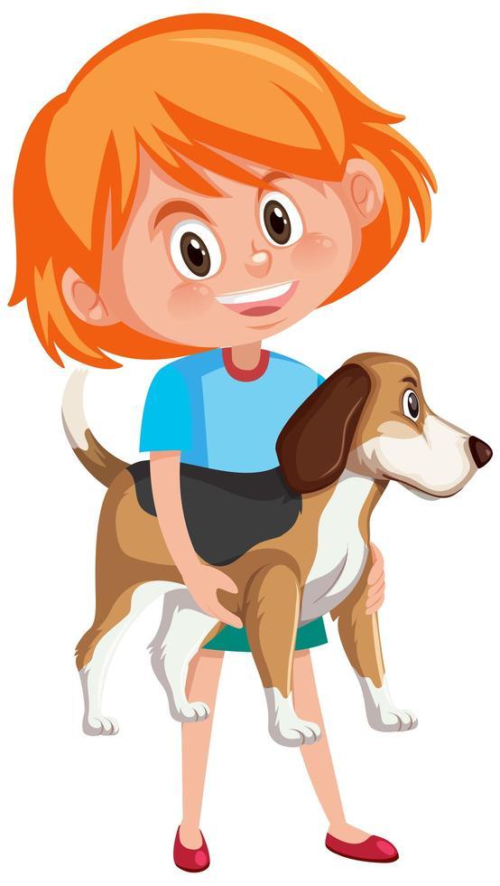 fille tenant le personnage de dessin animé animal mignon isolé sur fond blanc vecteur