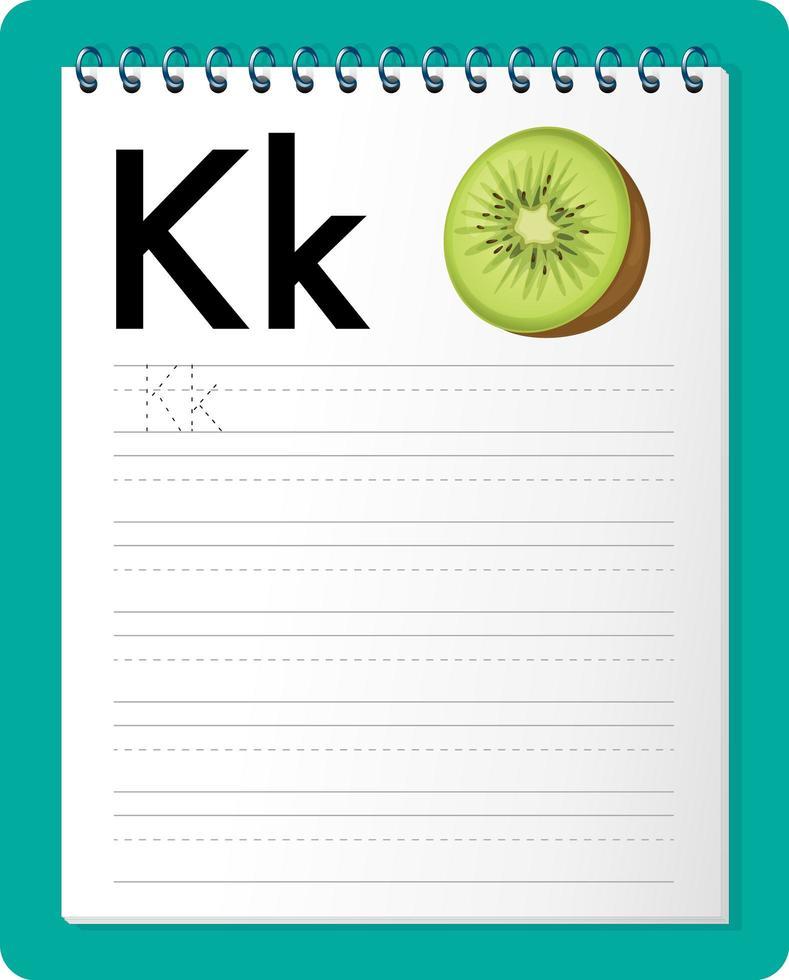 feuille de calcul de traçage alphabet avec lettre k et k vecteur