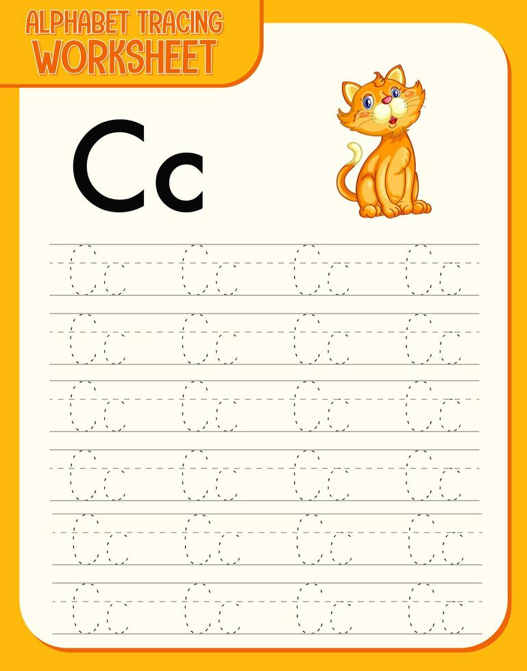 Feuille de calcul de traçage alphabet avec les lettres c et c vecteur