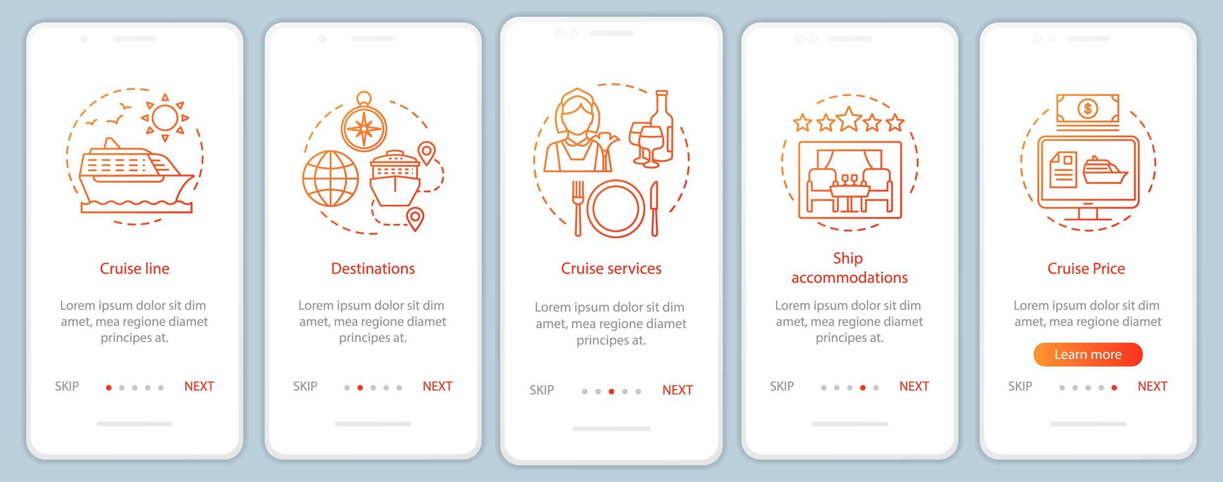 page de l'application mobile d'accueil des informations de croisière vecteur
