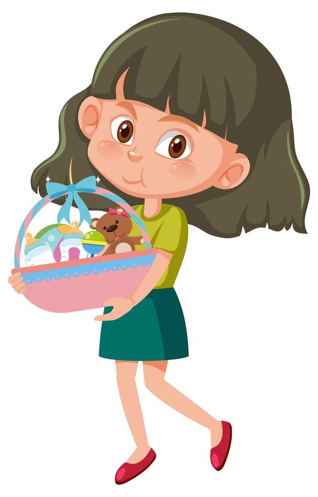 girl, tenue, bébé, jouet, panier, dessin animé, caractère, isolé, blanc, fond vecteur
