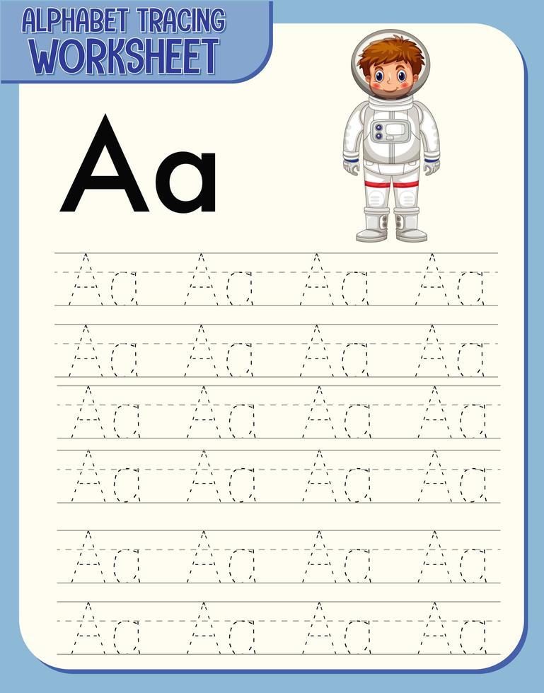 feuille de calcul de traçage alphabet avec lettre a et a vecteur