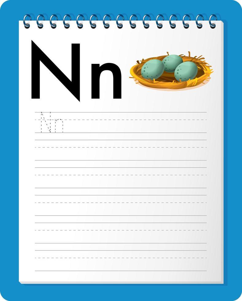 Feuille de calcul de traçage alphabet avec la lettre n et n vecteur
