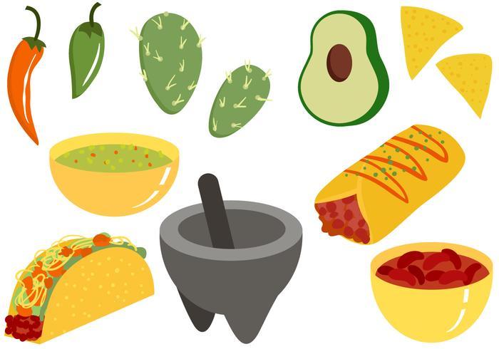 Alimentation mexicaine gratuite 2 vecteurs vecteur