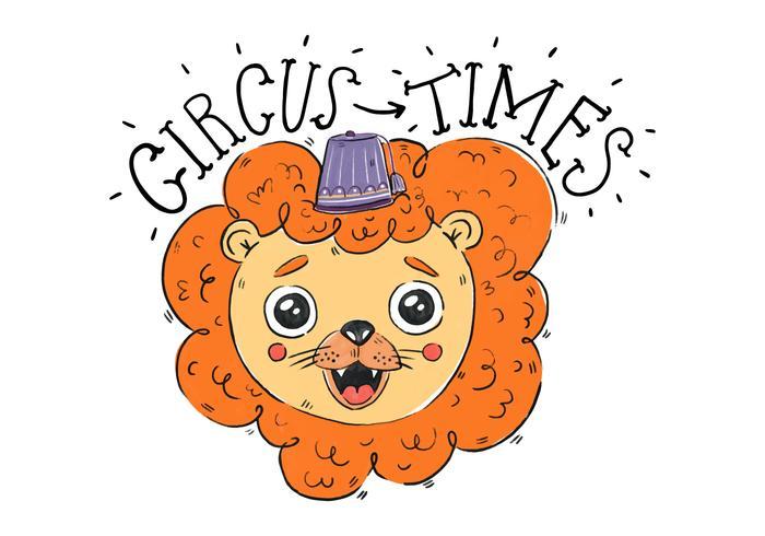 Lion mignon avec un chapeau de cirque pourpre Sourire et citation de cirque vecteur
