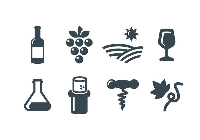 Vin, icônes vectorielles vecteur