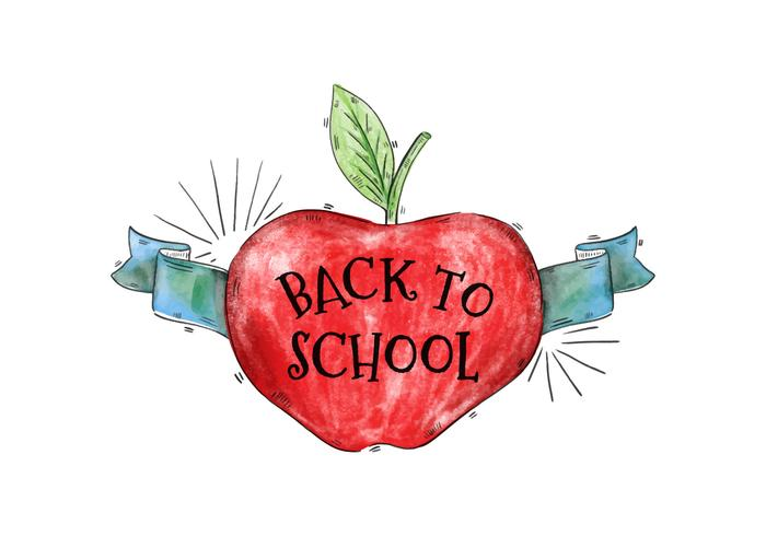 Back To School Watercolor Apple With Ribbon Vector