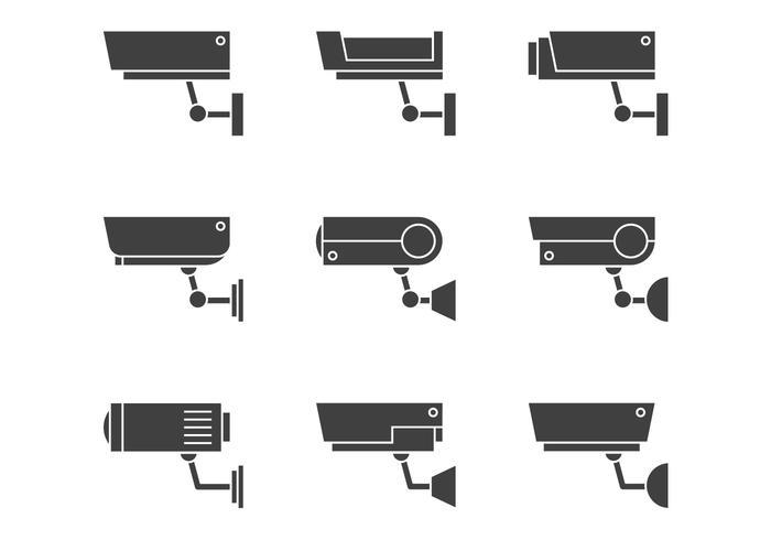 Icônes de surveillance vidéo vecteur