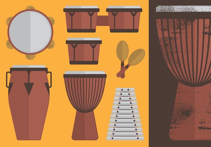 Ensemble d'instruments de percussion vecteur