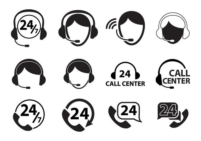 Ensemble d'icônes du centre d'appels vecteur