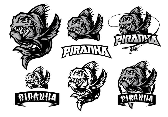 élément premium logo de piranha vecteur