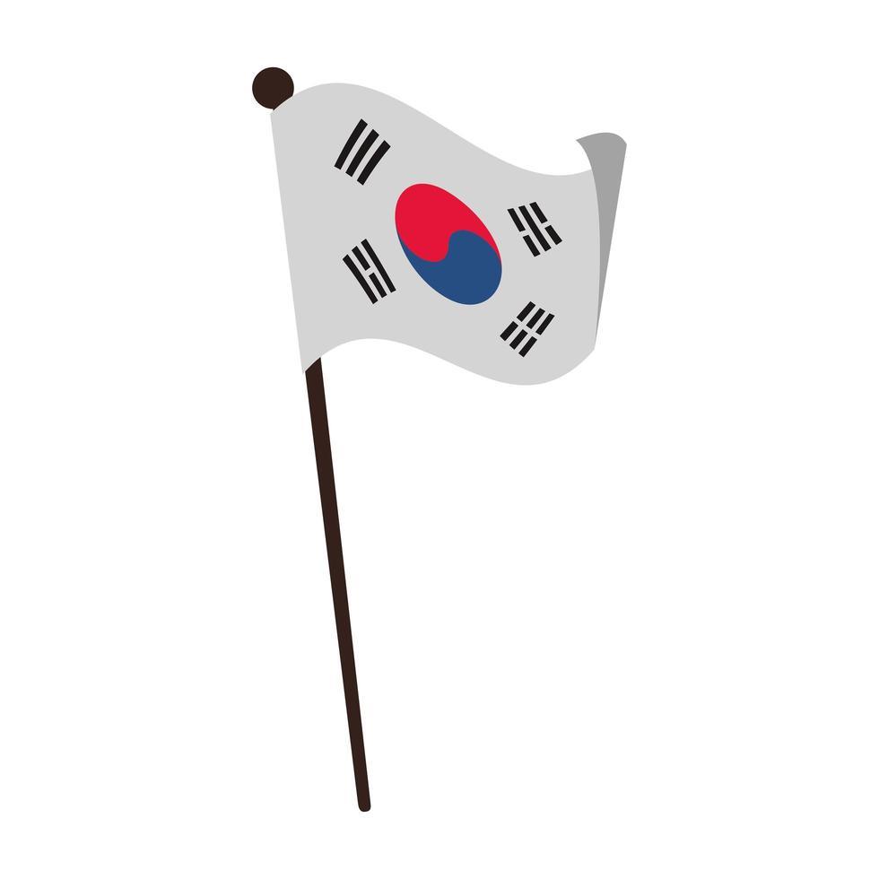 icône de drapeau sud coréen vecteur