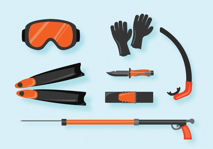 Ensemble vectoriel d'équipement de pêche à la lance