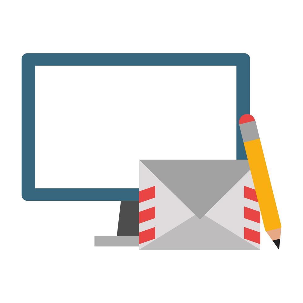 ordinateur et enveloppe avec crayon vecteur