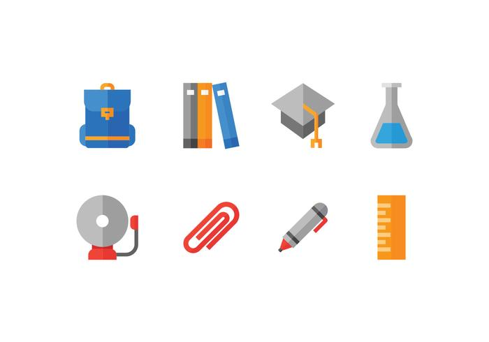Icônes de l'établissement scolaire et scolaire vecteur