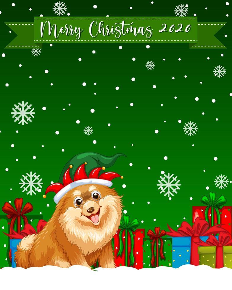 joyeux noël 2020 logo de polices avec personnage de dessin animé de chien chihuahua vecteur