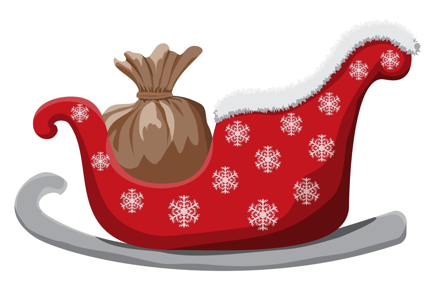 traîneau de Noël isolé sur fond blanc vecteur