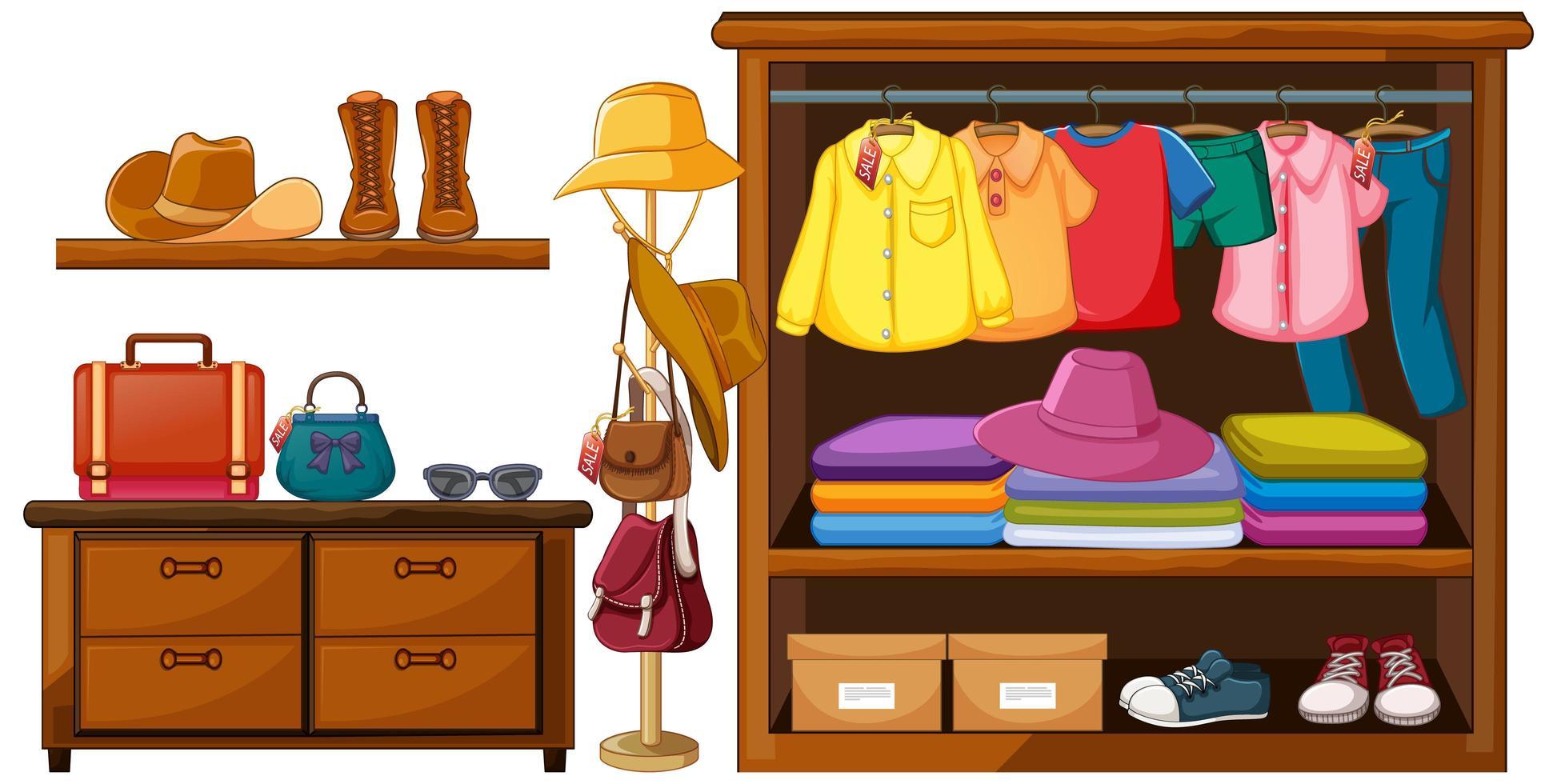 vêtements dans l'armoire vecteur