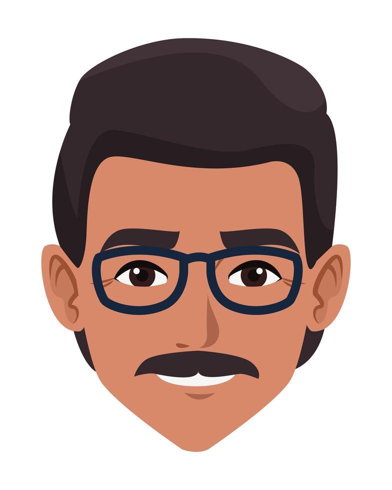 dessin animé avatar visage homme vecteur