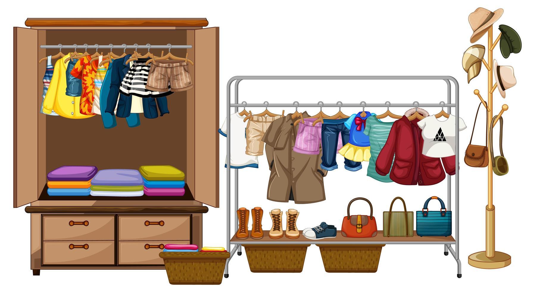 Vêtements suspendus dans une armoire avec des accessoires et des vêtements rang sur fond blanc vecteur