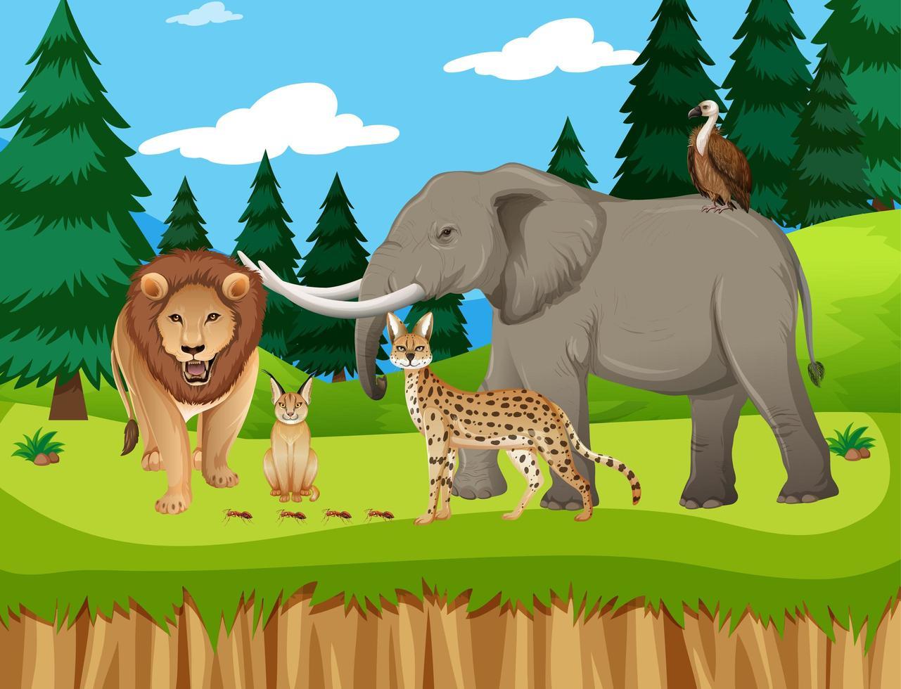 groupe d & # 39; animaux sauvages africains dans la scène du zoo vecteur