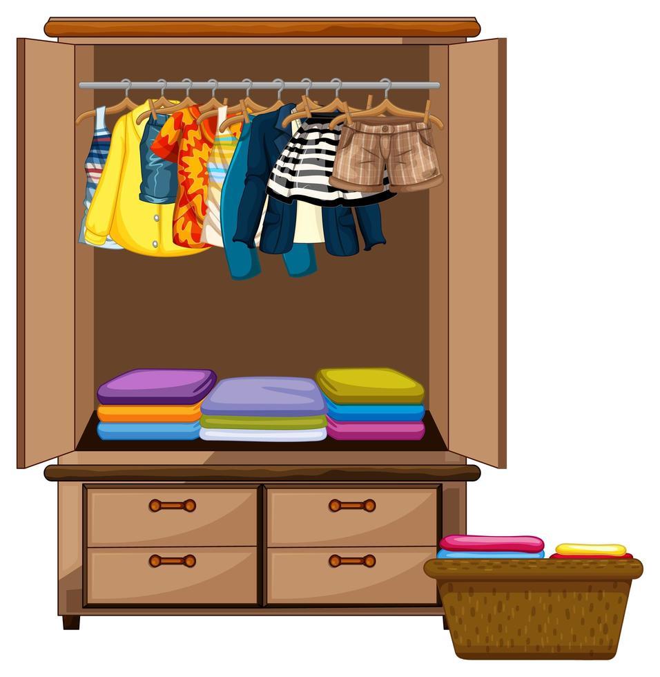 Vêtements suspendus dans une armoire avec panier de vêtements sur fond blanc vecteur