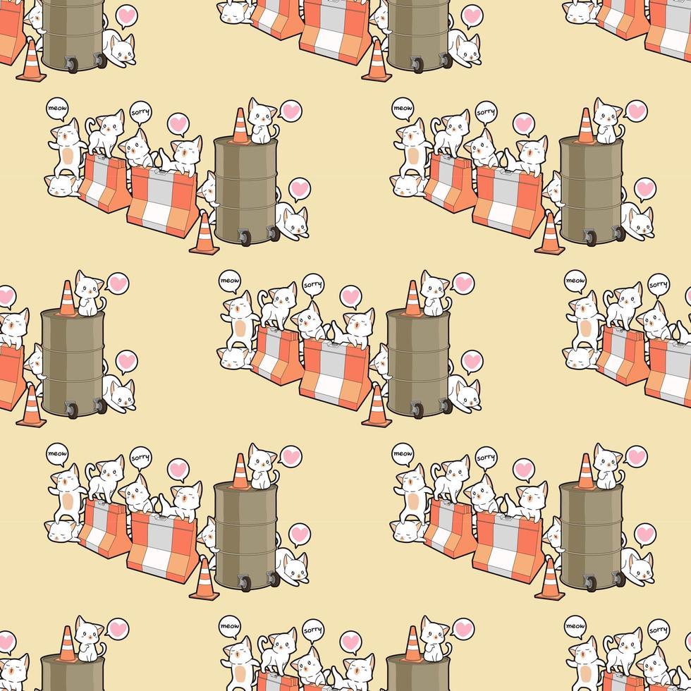 personnages de chat kawaii sans soudure avec motif de barrières vecteur