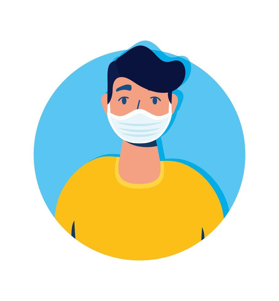 homme portant un personnage avatar masque facial vecteur
